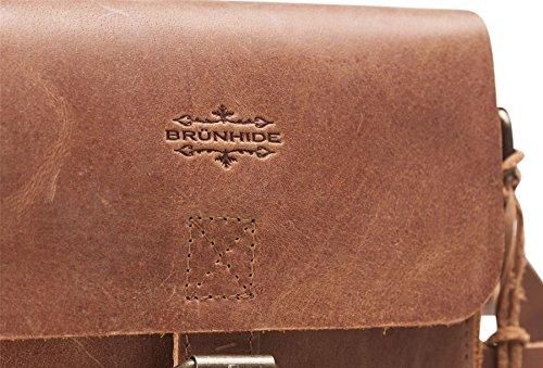 Brunhide # 150-300 - Damen Umhängetasche klein aus echtem Büffelleder - magnetische Schnallen-Attrappen Hellbraun