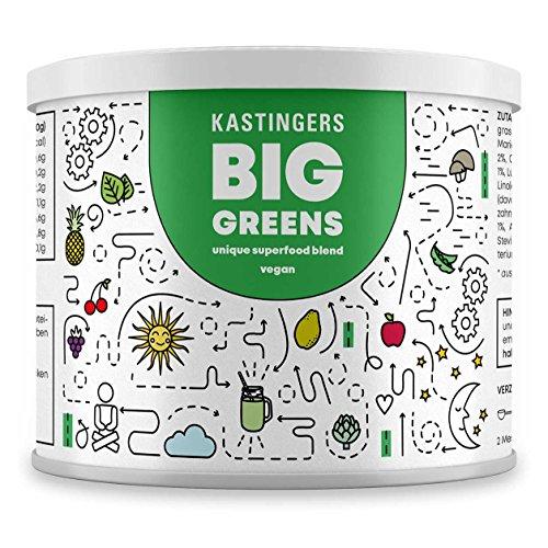 Big Greens Superfood Pulver - 28 Superfoods harmonisch kombiniert u.a. Gerstengras, OPC, Acerola, Reishi, Chlorella, Hanfprotein - vegan, frei von Laktose & Soja – HERGESTELLT IN DEUTSCHLAND (Saft-drink-mix)