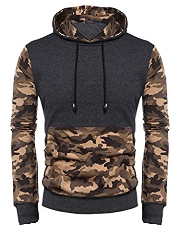 Mens Spring Camouflage Fashion Long Sleeve Contrast Color Pullover Hoodies (XXL, Grey)