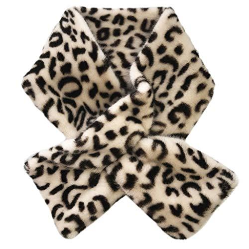 Baiyao 12x80cm Mujeres Falso Cuello De Piel Pañuelo Para El Cuello Bufanda Estampado De Leopardo Más Cálido Para El Cuello