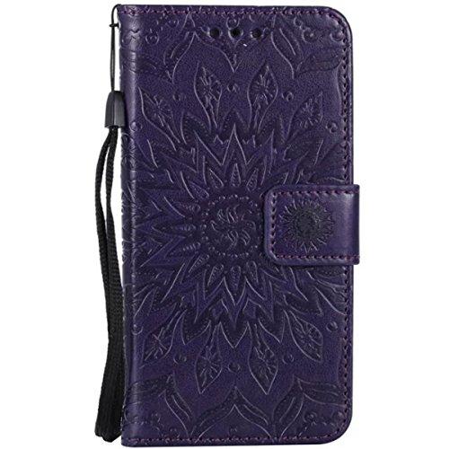 iPhone 6S Ledertasche, iPhone 6 Wallet Case, Lifetrut [Geprägte Sonnenblume] Design Flip Folio Leder Geldbörse Hülle Deckung für iPhone 6S 6 [Rosengold] E206-Lila