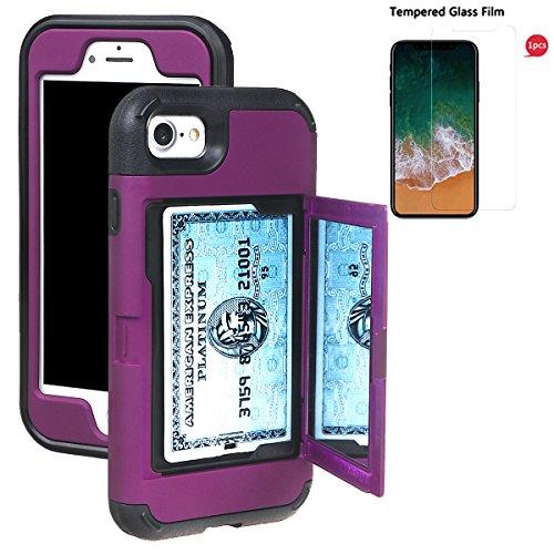"""xhorizon Coque mince d'armure et de protection antichoc de portefeuille avec une double couche cachée avec miroir pour le support de la carte de crédit pour iPhone 7 / iPhone 8 [4.7""""] avec 9H Film tem Pourpre +9H Glass Tempered Film"""