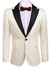 60ecc635c38c Modfine Men s Casual Slim Fit Floral Party Dress Suit Stylish Dinner Jacket  Wedding Blazer