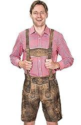 Kurze antik Look Bayerische Herren Trachten Lederhose mit Trägern, original in Dunkelbraun, Oktoberfest, Größe 56