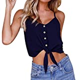 Hot Sale! Kanpola Womens Button Down Sleeveless Crop Top Tie Up Bowknot Cami Vest T Shirt Blouse Ladies Chiffon Round Collar Tank Tops