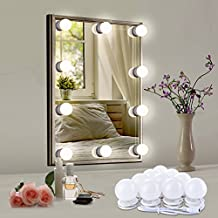 Luces de Espejo de Tocador de Baño Led Maunakea, estilo Hollywood, 10 bombillas ajustables con interruptor táctil y fuente de alimentación, Kit De Luces Para Maquillaje Cosmético(espejo no incluido)