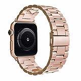 Simpeak Ersatz für Apple Watch Armband 44mm 42mm Gold, Uhrenarmband Edelstahl Ersatz delstahl Schlaufe Armbänder mit Metallschließe für Apple Watch Series 4/3 / 2/1, Sandrosa