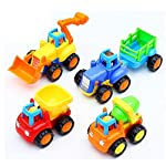 Friction Powered Unbreakable Toys for kids The Set includes 4 toys: JCB, Cement Mixer, Dumper and a Tractor with trolly All toys are made of fully Non-toxic materials, 100% safe for kids Even if your kid bangs it on the floor, it wont break. All tyre...