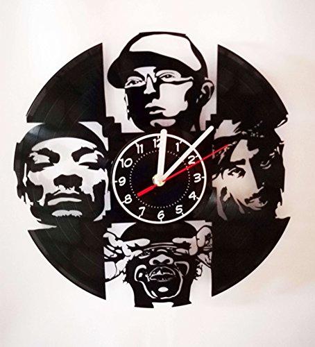 YOU WILL LOVE IT Eminem Jay Z Snoop Dogg Wanduhr, handgefertigt, Vinyl-Schallplatten-Wanduhr - Beste Dekoration für Teenager-Schlafzimmer - Rap Music Geschenke