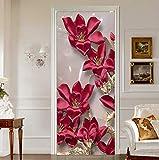 Pegatina Autoadhesiva para Puerta PVC 3D Estéreo Flores Rojas Papel Tapiz Sala De Estar Cocina Clásico Puerta Impermeable Vinilos De Vinilo Mural 3D