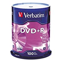 ‏‪Verbatim 95098 DVD+R Discs, 4.7GB, 16x, Spindle, 100/Pack‬‏