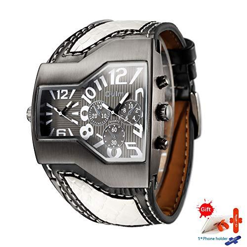 OULMBand Quartz Uhr Männliche Outdoor Sport Armbanduhren Mehrere Zeitzonen Herren Designeruhren Top Luxusmarke Herrenuhr,Blackwhite