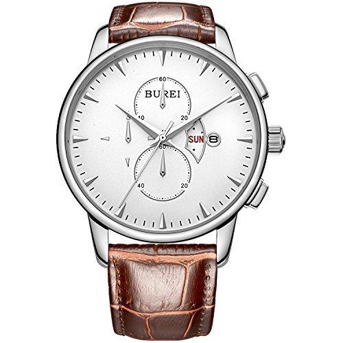 BUREI Herren Armbanduhr Weißem Ziffernblatt mit Tag Datum Kalender Saphirglaslinse und Braun Echtes Lederband