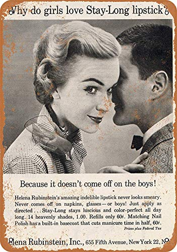 OURTrade 8 x 12 Tin Metal Sign - Vintage Look 1952 Helena Rubenstein Stay-Long Lipstick - Metal Edge-poster