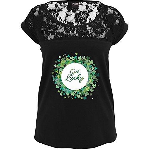 Statement Shirts - Get lucky Kleeblatt Glück St. Patrick's Day - XL - Schwarz - TB714 - Sexy Damen T-Shirt mit Spitze im (Outfit Sexy Patricks St Day)