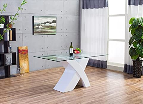MILANO X High Gloss WHITE/BLACK Glass Wood Dining Table Only (White)