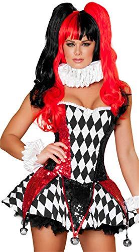 Sijux Costume de Clown Halloween Femme Fantaisie sexy Cirque déguisement fête Cosplay Jupe drôle acteur scène Performance vêtements,Red,M