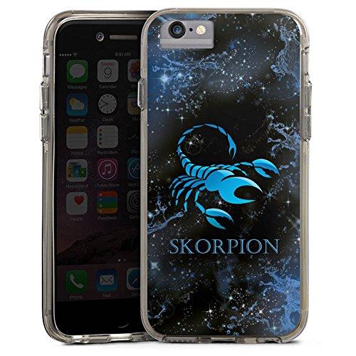 Apple iPhone 7 Bumper Hülle Bumper Case Glitzer Hülle Sternzeichen Skorpion Scorpion Bumper Case transparent grau