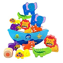 Lewo Blocchi di impilaggio in Legno Giocattoli per Bambini Piccoli Giochi di Equilibrio per i Bambini