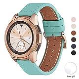 WFEAGL Compatible avec Bracelet Samsung Galaxy Watch 42mm/Gear S2 Classic/Gear Sport/Huawei Watch 2,20mm Grain Supérieur Bande en Cuir à Dégagement Rapide Bracelet(20mm, Bleu Tiffany+Boucle Or Square)