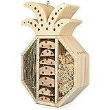 Navaris Casetta Hotel per Insetti - Rifugio Ecologico per formiche api Coccinelle da Giardino con Catenella - Casa in Legno Design Ananas 21,5x32x8cm