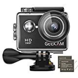 GeeKam Action Cam 1080P Full HD 30 m Unterwasserkamera 2 Zoll LCD 120 ° Weitwinkel-Sportkamera mit 2 1050mAh Akku und Zubehör-Kit Black