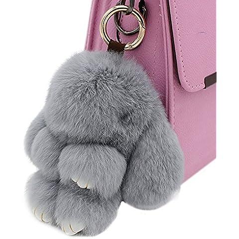 80Store El más nuevo regalo de la Navidad Faux Fur Cute Mini conejo muñeca llavero Car Key Ring mujeres bolso encanto colgante 13CM