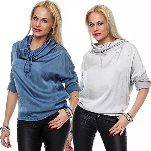 Livan`s Damen Seide Viskose Bluse, Sweatshirt Zweifarbig, Tunika mit Hoodiekragen Schwarz