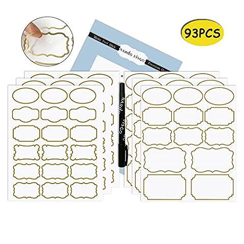 Nardo Visgo Transparente Aufkleber mit trendigen goldenen Grenze, abnehmbare wasserdichte transparente Gläser Etiketten in verschiedenen Größen für Gläser, Aufbewahrungsbehälter oder Handwerk Dekoration, 93pcs