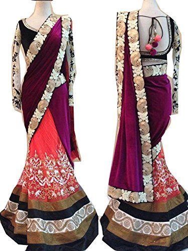 Sarees Black Color Velvet Fabric ThreadWork & Handwork Saree ( New Arrival Latest Best Design Beautiful Dresses Material Collection For Women and Girl Party wear Festival wear Special Function Events Wear In Low Price With High Demand Todays Special Offer and Deals with Fancy Designer and Bollywood Collection 2017 Punjabi Anarkali Chudidar Patialas Plazo pattern Suits )
