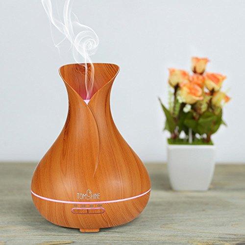 TOMSHINE 400ml Aroma Diffusor Luftbefeuchter Humidifier Holzmaserung mit 7 Lichtfarbe Niedrigwasserschutz für Aromatherapie Wohnzimmer - 2