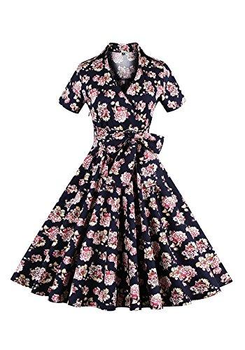 MISSEUROUS Damen Frauen Sind Kurze ärmel Definiert Bowknot Vintage Party Swing - Kleid Gedruckt