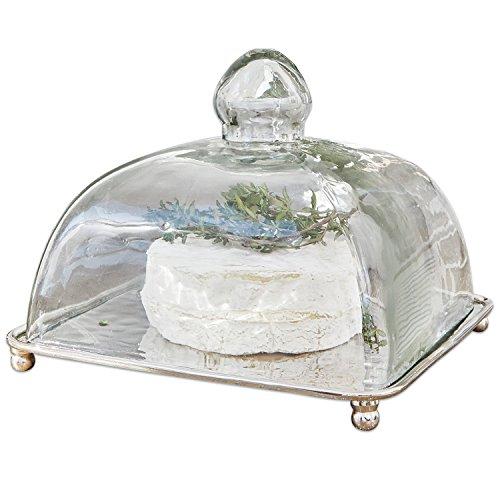 Loberon Glasglocke mit Platte Henri, Glas/Messing, H/B/T ca. 13/16,5/16,5 cm, klar/silber (Glas-kuppel, Kuchen-abdeckung)