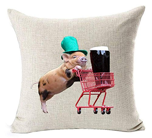 vintage cap Cotton Square Decorative Throw Pillow Case Cushion Cover Cute Pet Miniature Adorable Pig Small Trolley Coke Beer 18
