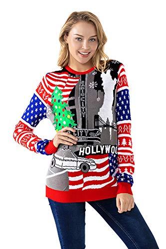 U LOOK UGLY TODAY Damen Hässliches Weihnachtspullover, Flauschiger Schneemann mit echtem Schal, Weihnachtspullover - flauschig Festliche Haptik - - X-Klein