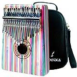 Moozica 17-key Bambus Kalimba Daumen Klavier, Professional bunt Marimba mit Tragetasche Music Book Musical Geschenk …