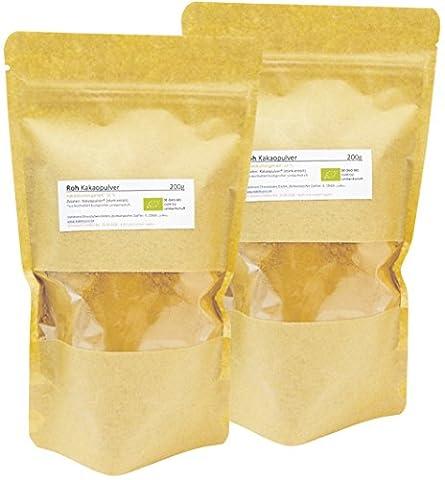 Edelmond® Bio Roh-Kakaopulver aus nicht gerösteten Kakaobohnen ✓ Organisch angebauter Kakao ✓ Ohne Zusätze ✓ Ohne Zucker ✓ Fettgehalt um 12% (400 g)