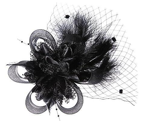Abnehmbare Fascinator Haar-Klipp-Feder-Hochzeit Kopfbedeckung Braut 1920er Kopfstück Corsage (Schwarz)