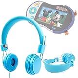Casque bleu réglable DURAGADGET pour enfant – réglable et repliable avec microphone intégré pour lecteur multimédia KidiGo de Vtech/ MP3