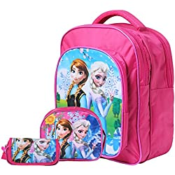 OKJI Frozen 15 Inches School Bag For girls- Back Pack combo (Set Of 3) for Junior School (Age group :2-5 yrs)