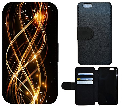 Coque Flip Cover Housse Etui Case Pour, Tissu, 1154 Abstract Schwarz Gold, Apple iPhone 4 / 4s 1154 Abstract Schwarz Gold