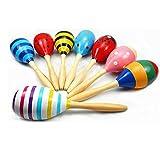 Leisial 1 Stücke 0-2 Jahre Rasseln Baby Spielzeug Kinder Musikinstrumente Spielzeug Kinder Holz Spielzeug Holz Spielzeug Hand Rasseln 23CM Zufällige Farbe 1