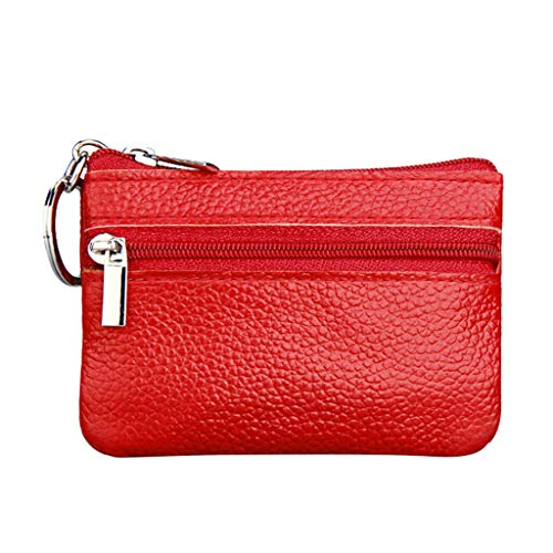 ODJOY-FAN 2019 Damen Geldbörse Neu Mini Brieftasche Leder Reißverschluss Beutel Kleine Geldbörse mit Schlüsselbund (Rot,1 PC) (Leder Nachricht Taschen Für Männer)