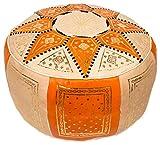 Pouf fassi en cuir, pouf marocain fait main en cuir véritable, no rembourré. Ils sont vendus vide. Ils peuvent etre rembourrés avec des chiffons, du papier ou de mousse synthetique.