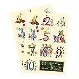2er Set Glückwunschkarten zur Einschulung mit Zahlen von Silke Leffler