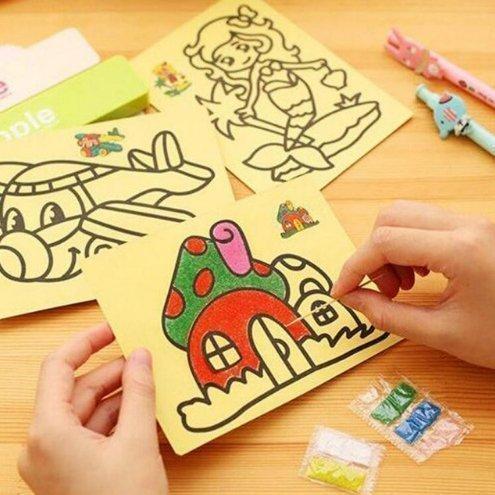 20 CM / 11,2 '' x 8 '' Kinder Kinder Zeichnung Spielzeug Sand Malerei Bilder Kind DIY Handwerk Bildung Spielzeug Für Jungen Und Mädchen Stil zufällig (Handwerk Ideen Für Jungen)