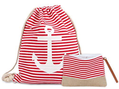Shopping Outfit für Damen (Set 09) - Turnbeutel mit großem Anker: 40 x 30 cm - Hochwertige Kosmetikbeutel: 26 x 20 cm