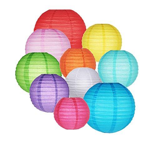 GoFriend - Pack 10 lámparas redondas papel tipo globo