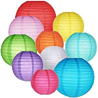 10 Packs Paper Lanterns GoFriend Colorful Chinese Round Lantern Balloon Hanging Decorations with Assorted Rainbow Colors and Sizes for Birthday Wedding Baby Shower Home Decor Ceiling Party Supplies