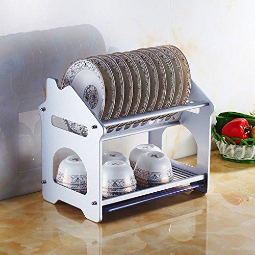NM Estante multifuncional de la cocina Capas dobles Space Aluminium Dish Shelf...